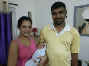 Naina, and her parents, Arjun and Pratibha :) She was two months :)